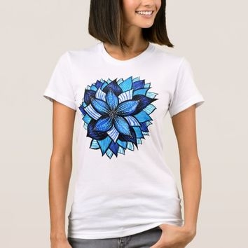Beautiful Abstract Blue Flower Ink Drawing T-Shirt