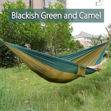 EZ CAMPING IN THE GREAT OUTDOORS!!  ITS HERE OUR PORTABLE HAMMOCK!!   Just $24.99 With our EZ WARRANTY and FREE EZ SHIPPING in THE USA!!! 270*140cm Backpacking Hammock - Portable Nylon Parachute Outdoor Double Hammock