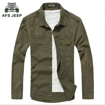 2017 New Fashion AFS JEEP Shirt Men's Shirt Long Sleeve Casual Male Brand Shirts Slim Fit French Cuff Dress Shirts For Men 75