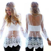 White Sheer Lace Crochet Blouse