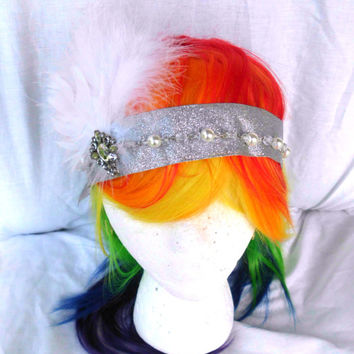 Flapper Headband, Silver, White, Glitter, Feather, Rhinestone, Vintage headband, flapper style. costume, silver headband, gatsby
