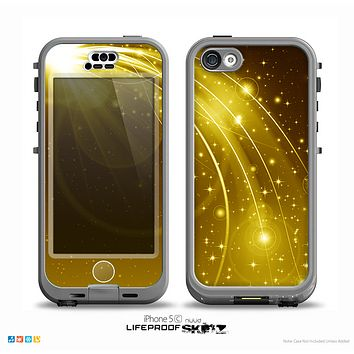 The Abstract Gold Fantasy Swoop Skin for the iPhone 5c nüüd LifeProof Case