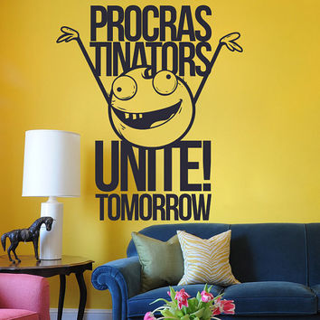 Interior Wall Decal Vinyl Sticker Art Decor programmer program procrastinators unite tomorrow comic strip motivation inscription (i132)