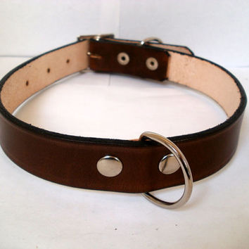 """Leather dog collar with rear D ring, 1"""" wide large dog collar in 15 colors, red dog collar, blue dog collar, green dog collar, brown collar"""