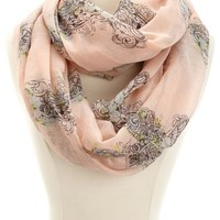 Floral Cross Print Infinity Scarf