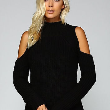 Cable Knit Cold Shoulder Sweater - Black