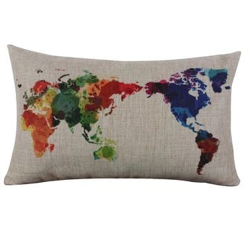 Colorful World Linen Pillow Case