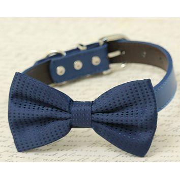 Navy dog bow tie collar - Pet wedding accessory- Something blue