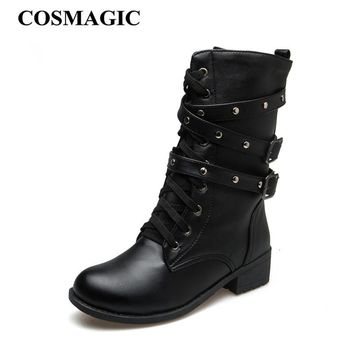 COSMAGIC 2018 New Women Rivets Buckle Winter Motorcycle Martin Boots British Style Gothic Punk Med Heel Black Boot Shoe