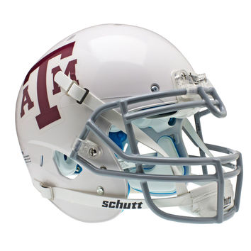 Texas A&M Aggies Schutt XP Authentic Full Size Helmet - White Gray Alternate 2