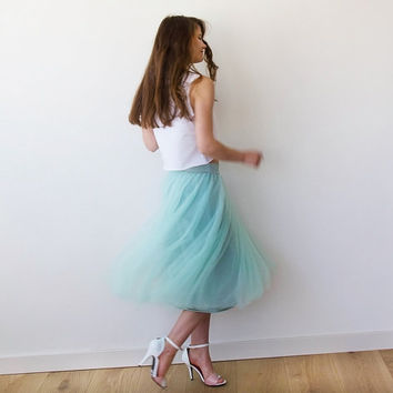 Tulle midi length mint bridesmaids skirt , Knee length tulle skirt
