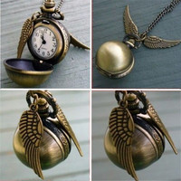 Harry Potter Round Pocket Watch Pendant Necklace Retro Snitch Steampunk Quidditch Wing Clock Sweater Necklaces -03130