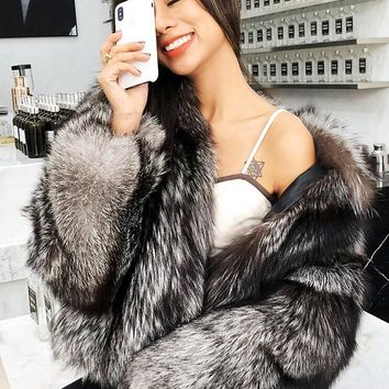 HOLYGRAIL  Gorgeous Women's Real Silver Fox Fur Coat Winter Outerwear Natural Arctic Fox Hair