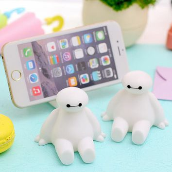 Novelty Big Hero 6 The Baymax Cartoon Characters Silicone Phone Stand Novelty Phone Accessories Smartphones Mount Holder