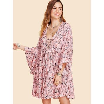 Multicolor Deep V-Neck Bell Sleeve Lace Up Floral Print Shift Dress