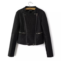Black Quilted Zipper Detail Collarless Faux Leather Jacket