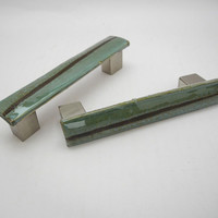 Door Handles, Drawer Pulls, Cabinet Handles, Handmade Ceramics for Home Decor in Teal with Brown Stripe