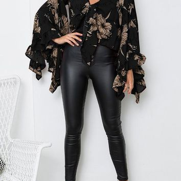 Black Floral Irregular Crop Plunging Neckline Fashion Blouse