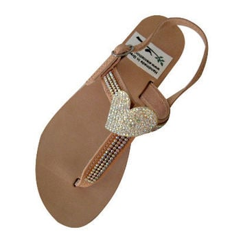 Leather Swarovski strap sandals! Made from genuine leather and Swarovski. Bridal, Bridesmaid or Beach Wedding Sandals