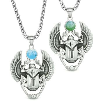 Scarab Egyptian Rebirth Spiritual Life Amulet Couples Green Quartz Simulated Turquoise Necklaces