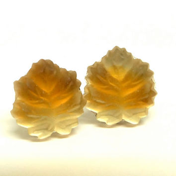 Maple leaf earrings. Molded glass. West Germany. Stud post