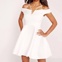 Missguided - Strappy Bardot Skater Dress White
