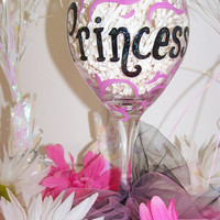 Princess Hand Painted Wine Glass Princess Pink and Black Painted Wine Glass Perfect Birthday Gift