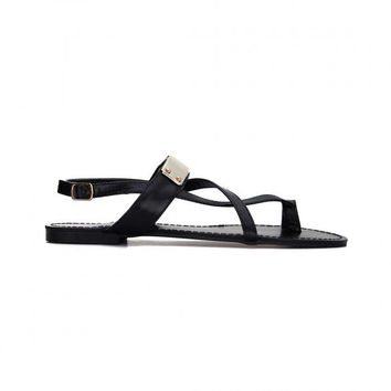 Black Leather Look Looped Toe Gold Strap Flat Sandals