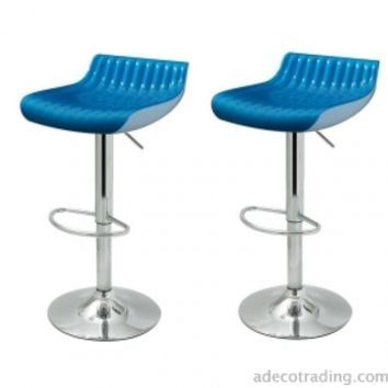 Adeco Glossy Counter Bar Stools, Set of 2, Blue - ch0139-1