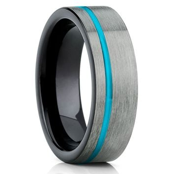 Turquoise Tungsten Wedding Band - Black Tungsten Ring - Tungsten Carbide