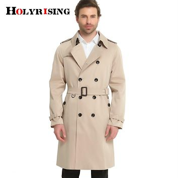 Men Spring Pea Coats Double Breasted Slim Solid Men's Wind Coat Windbreaker