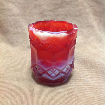 Imperial Glass Mid Century 3 In 1 Red White End Of Day Glass Toothpick Holder with Label