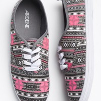 Neon pink & grey tribal print laced sneakers