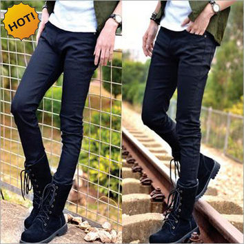 Hot Style Boys Slim Fit Jeans Teenagers Thin Denim Solid Casual Cheap Black Bottoms Cuffed Strech Handsome Harem Pants 28-34
