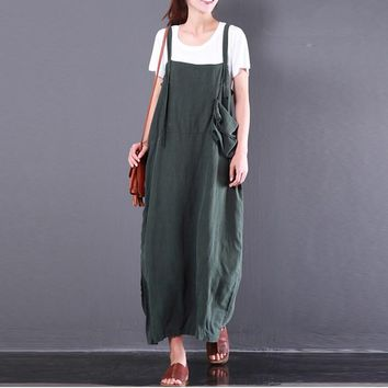 S-5XL ZANZEA Women Plus Size Loose Vestido Fashion Vintage Retro Bib Dungarees Strap Overall Dress Sleeve Pockets Kaftan