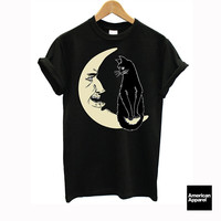 """ Black Cat on Crescent Moon "" American Apparel Unisex Tee"