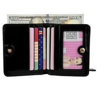 Women's Small Compact Bi-fold Leather Pocket Wallet with ID Window