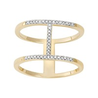 1/10 Carat T.W. Diamond 14k Gold-Bonded Sterling Silver H Ring