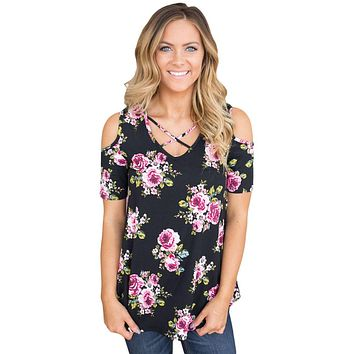Black Floral Print Crisscross Neck Cold Shoulder Top