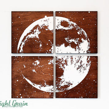 Full Moon Original Painting - Astronomy Wall Art on Dark Woodgrain Panels - 24x24