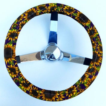 Sunflowers on Purple Steering Wheel Cover
