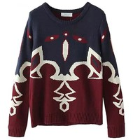 MapleClan Women Hit Color Abstract Thickened Brocade Sweater/Knitwear
