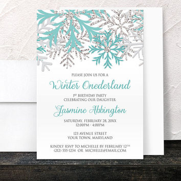 Winter Onederland Invitations Girl - Teal Silver Snowflakes on White - Winter 1st Birthday - Printed Invitations