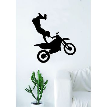 Moto X Rider V2 Silhouette Wall Decal Sticker Bedroom Living Room Decor Art Vinyl Sports Teen Kids Motocross Dirtbiker Dirt Bike