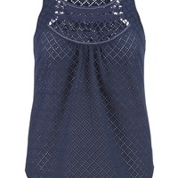 Plus Size - Eyelet Fabric Tank With Crochet Neckline - Blue