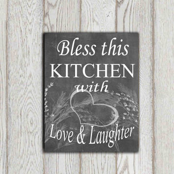 Kitchen decor Bless this kitchen with love Chalkboard wall art Kitchen ideas Kitchen quote Herbs Heart Black white Typographic art Gift idea