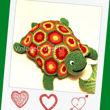 Instant Download TOY Turtle 1970s Stuffed Zoo Animal Toy-Vintage Crochet Pattern for Toddlers Children Baby PDF free gift How to Crochet