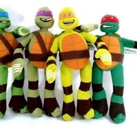 "Tmnt Ninja Turtles 4pc Plush Doll Set 14"" Michelangelo Raphael Leonardo Donatell"