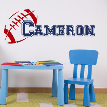 Wall Decals For Boys Name Sport Vinyl Decal American Football Sticker Soccer Ball Kids Nursery Bedroom Decor T49