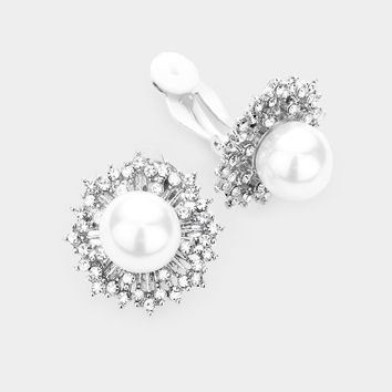 Pearl Centered Crystal Clustered Pearl Clip On Earrings